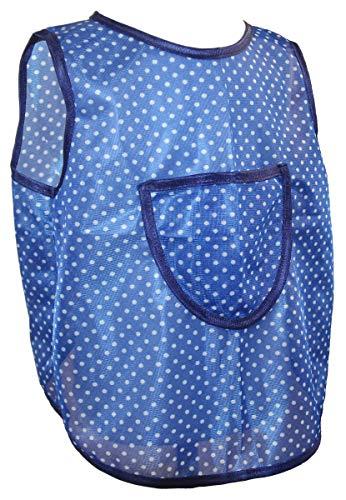Schuerzenfabrik Kinderschürze hinten zum knöpfen Dederon Malschürze Jungenschürze blau versch. Muster, Größe:86/92, Farbe:blau mit weißen Punkten