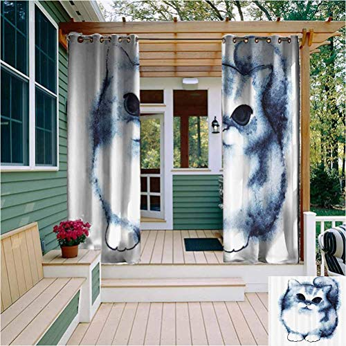 Navy Blue Decor Extra Long Outdoor Curtain Cute Kitty Paint with Distressed Color Features Fluffy Cat Best Companion Ever Design Outdoor Drape for Pergola/Porch, Tan Grey White W72 x L72 Inch