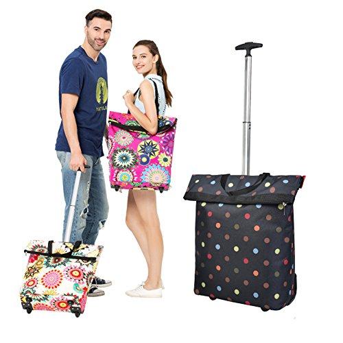 pEI Gepäckwagen Leicht Klappbar Leichtgewichtiger Transportkarre Mit Räder Tragbar Für Reisen/Geschäftsreise/Schwerlasttransport 25 Kg/55 Lbs Kapazität