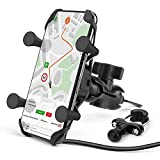 Techjayse Universal Motorcycle Phone Mount with USB Charger,...