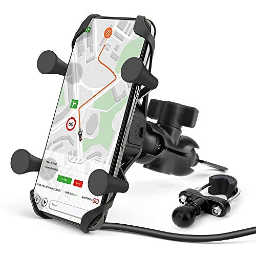 Techjayse Universal Motorcycle Phone Mount with USB Charger, Motorcycle Phone Holder compatible for iPhone 12, 11, X, SE, Samsung, Black