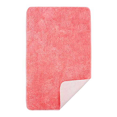 Luxury Bath Rug, Extra Thick Soft Bath Mat Machine Wash and Quick Dry, Plush Carpet Mats for Bath Room, Shower, Bathtub and Spa Floors Best Size for Bathroom Extra 18.9X30.7Inch (48x78cm)-Pink