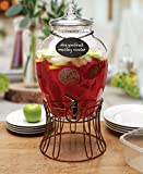 Circleware Glass Beverage Dispenser with Stand and Chalkboard Necklace, Fun Party Entertainment Home Kitchen Glassware Water Pitcher for Juice, Beer & Cold Drinks, 2.7 gal, Bronze Base