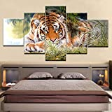YTDZ GCKJ Cuadro en Lienzo Tigre Animal de la Selva Verde 100x55cm Impresión de 5 Piezas Material Tejido no Tejido Impresión Artística Imagen Gráfica Decoracion de Pared Tu Salón o Dormitorio