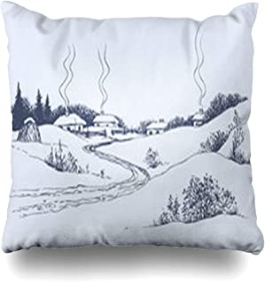 Ahawoso Throw Pillow Cover Pillowcase Drift Snow Dirt Road Leads Village Nature Winter Frost Parks Vintage Hill Trail House Christmas Zippered Square Size 20 x 20 Inches Home Decor Cushion Case