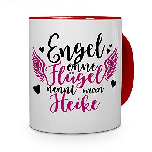 printplanet Tasse mit Namen Heike - Motiv Engel - Namenstasse, Kaffeebecher, Mug, Becher, Kaffeetasse - Farbe Rot