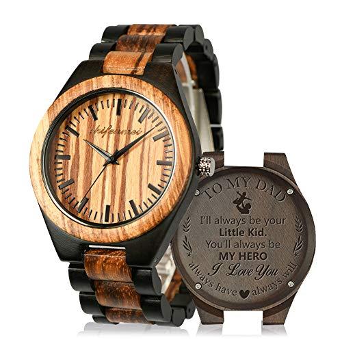 Holzuhr Herren, Shifenmei Minimalistisches Holzuhren für Herren Damen Japanisches Quarzwerk Design Handgefertigte Uhr mit Holz Armband inkl. Geschenkbox (C-Für Papa)