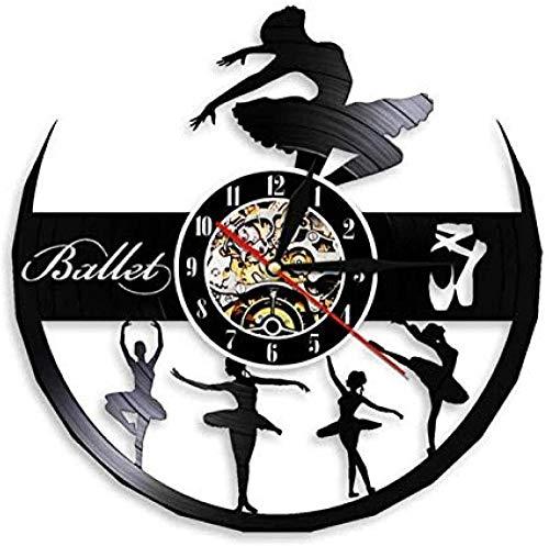 Reloj de Pared de Vinilo Bailarina Chica Decorar Reloj de Pared Estudio de Baile Chica habitación Pared Arte Reloj Bailarina Disco de Vinilo Reloj de Pared Bailarina de Ballet