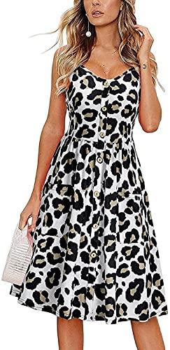 DSKEFE Vestido casual de verano para mujer, leopardo, S