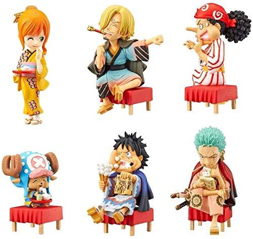 Amanigo 6-9cm Mini One Piece-Team von 6 PVC-Figur PVC-Figur Sammlerkundig-AFFE.D.Luffy Zoro Nami Usopp Sanji Chopper Kimono Modell Dekoration Spielzeug für Geschenk