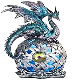 George S. Chen Imports StealStreet SS-G-71512 Dragon on Light Up LED Orb Statue Display, 8.25'/Large, Aqua