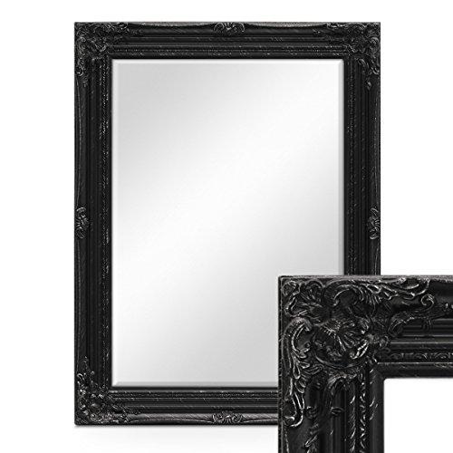 PHOTOLINI Wand-Spiegel im Barock-Rahmen Antik Schwarz mit Facettenschliff 64x84 cm/Spiegelfläche...