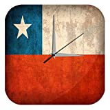 LEotiE SINCE 2004 Wanduhr mit geräuschlosem Uhrwerk Dekouhr Küchenuhr Baduhr Welt Reise Chile Flagge Wand Deko Uhr Vintage Retro