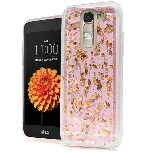 LG K7 Case / TRIBUTE 5 Case / LG TREASURE Case, Phonelicious Slim Naked Luxury Hybrid TPU Skin Sparkle Dazzle Phone Cover (GOLD LEAVES)