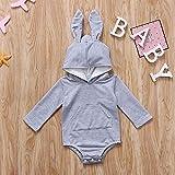 Hase Body grau für Baby ab 3 bis 6 Monat Größe 70, Neugeborenen Jungen Mädchen Body Hallo Sommer sweatshirt Infant Kinder Baumwolle Kleidung Outfit Overall