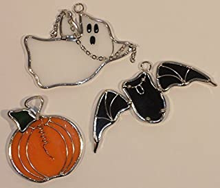 Stained Glass Pumpkin Oak Leaf and Acorn Sun Catcher