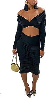 Wofupowga Womens Off Shoulder Stitching Lace Swing Belt Pleated Evening Party Midi Dress