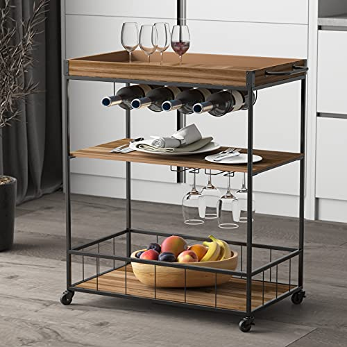 "FUFU&GAGA 3-Tier Kitchen Cart, Wine Cart, Free Standing Kitchen Utility Cart with Wine Rack & Glass Holder, Storage Shelf Organizer for Home, Rustic Brown, 26.4"" W x 15.7"" D x 35"" H"