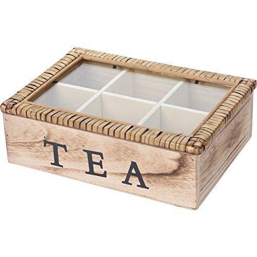 Teekiste Holz Teebox Glasdeckel Tee Kiste Teekasten Teebehälter (6 Fächern)