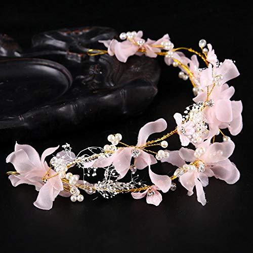 Littlefairy Braut Haarschmuck,Rosa Tuch Handgefertigte Braut Kopfschmuck Kopf mit Hochzeits-Accessoires