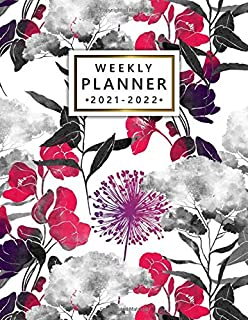 2021-2022 Weekly Planner: Cute Floral Two Year Calendar, Agenda, Diary | 2021-2022 Weekly Planner, Organizer with Vision B...