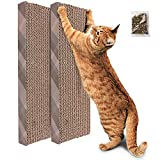 PrimePets 2 Pack Cat Scratcher Cardboard, Recycle Corrugated Cat Scratching Pad, Reversible Kitty Scratch Board Sofa Bed Lounge for Furniture Protector, Catnip Included