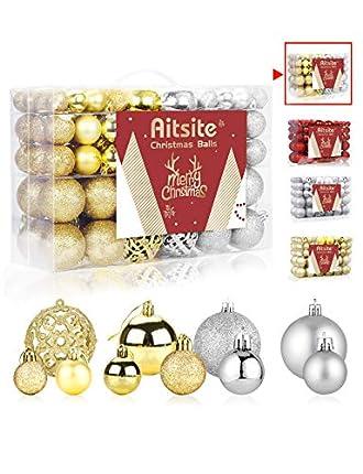 Aitsite 100PCS Bolas de Navidad 6 cm Bolas de árbol de Navidad Adorno de Pared Colgante de Pared Adornos Decoraciones Árbol Bolas Decorativas Boda de Fiesta Hogar Decoraciones para Festivales