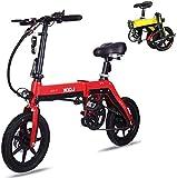 RDJM Bicicleta eléctrica Bicicletas Mini Eléctricos en Adultos de 12' Bicicletas Plegables E-Bici 36V 250W 5-10.4Ah 20KM / H Ajustables eléctricamente Marco Ligero de aleación de Aluminio E-Bici