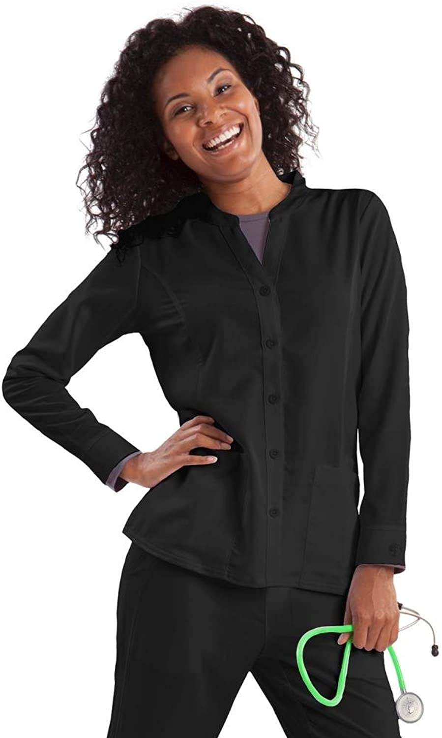 Purple Label Women's  Dana  5044 Button Front Scrub Jacket by Healing Hands Scrubs Black Small