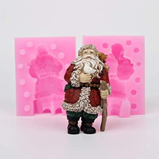 3D Christmas Santa Claus Candle Mold New Year Handmade Soap Silicone Mould DIY Resin Clay Craft Cake Mold 3D Father Xmas Chocolate Mould Jelly Dessert Candle Molds Fondant Cake Decorating Tool