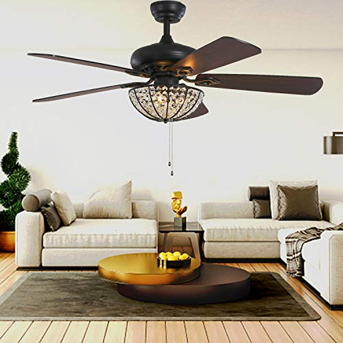 52 Inch Crystal Ceiling Fans With Lights 52'' Classic...