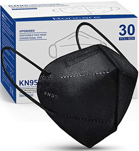 KN95 Face Mask 30 PCs, 5-Layer Black Face Mask for Men & Women Filter Efficiency?95%