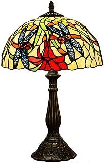 WYBFZTT-188 Base de Fleurs en Alliage Vitrail Abat Salon Chambre Lecture café E27 Lampe de Table