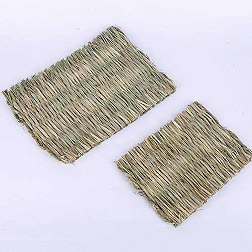LLYAND Small Animal Chew Toy Beds, Pet Mat Natural Hand Woven Grass Mats, for Hamsters, Rabbits