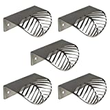 Hnmedia 5PCS 2-1/3''(60mm) Stainless Steel Cabinet Knobs Silver Leaf Knobs and Pulls Cupboard Dresser Drawer Knobs Furniture Handles Hardware