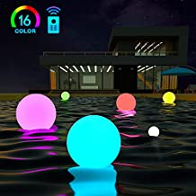 LOFTEK LED Floating Pool Light Ball with Remote Control: 8-inch 16 RGB Colors Changing Waterproof Outdoor Decor, Portable and Hangable with Stainless Foldable Handle, Chargeable Night Light for Home