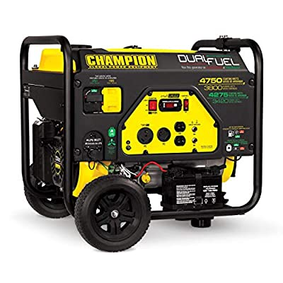 Champion Power Equipment #76533 4750 Watt DUAL FUEL Portable Generator w/Electric Start (CARB Compliant)