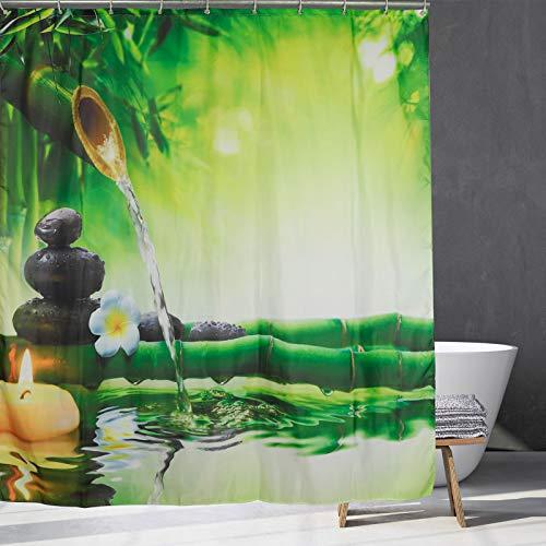 Cortina de ducha para spa, meditación e imagen de tallos de bambú, vela y piedras de basalto, terapia, relajante, decoración de baño con ganchos, 59 x 70 pulgadas
