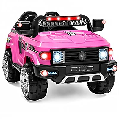 Best Choice Products Kids 12V Electric RC Truck Ride On w/ 2 Speeds, LED Lights, MP3, AUX, Pink by Best Choice Products