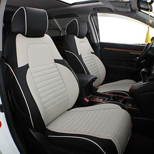 EKR Custom Fit Full Set Car Seat Covers for Select Honda CRV 2017 2018 2019 2020 2021- Leatherette (Black/Gray)