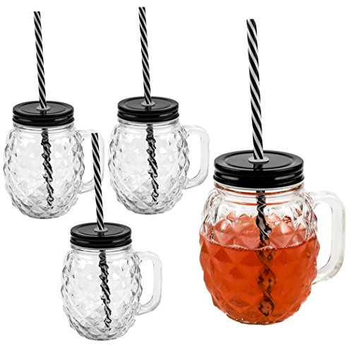 3D Ananas Glas Trinkglas mit Deckel und stabilem Strohhalm 500ml 4er-Set