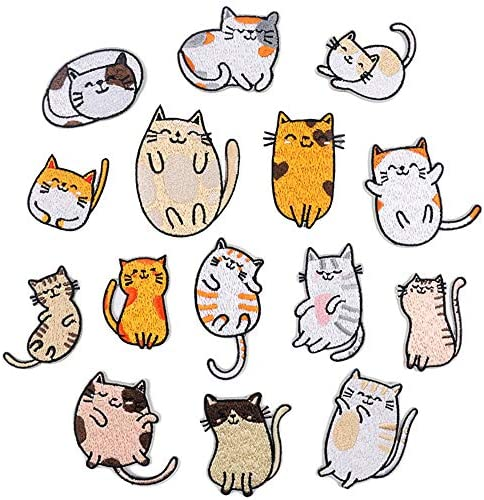 Embroidery Patches Cute Cat Iron On DIY Decorative Applique Stickers for Clothing Jeans Bag product image