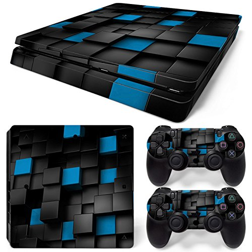 Sony PS4 Playstation 4 Slim Skin Design Foils Aufkleber Schutzfolie Set - Pixel 2 Motiv