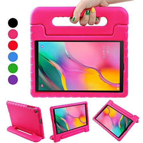 BelleStyle Custodia per Samsung Galaxy Tab A 10.1 2019, Antiurto Leggero Protettiva Maniglia Copertina Cover con Supporto per Bambini per Galaxy Tab A 10.1-Pollice T515/T510 2019 Rilascio (Rosa)
