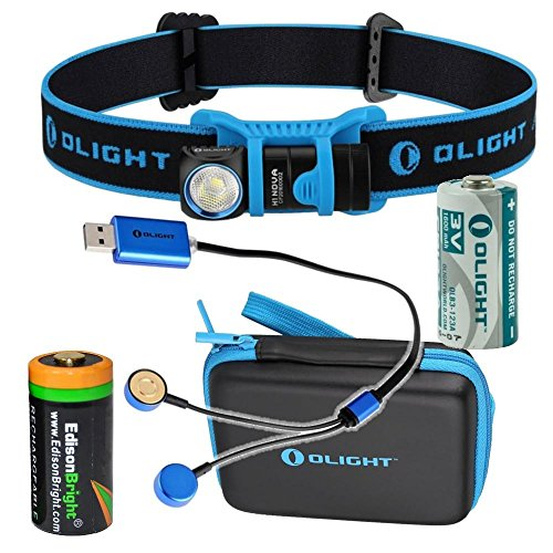 Olight H1 CREE LED 500 lumen headlamp rechargeable bundle in carry case with with EdisonBright EBR70 battery and Olight UC charger