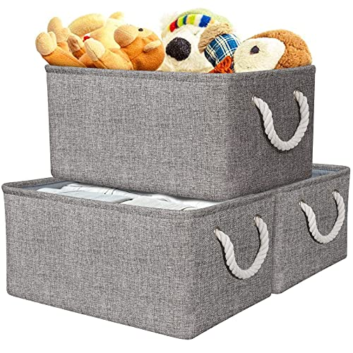 AivaToba Grey Storage Box Large, 3 Pcs Fabric Storage Basket with Handles, Waterproof Foldable, Storage Cube Boxes Home Organizer for Toys, Clothes, Office Products and Other Sundries