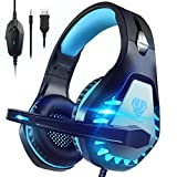 Pacrate Gaming Headset with Microphone for Laptop PS4 PS5 Mac Xbox One Headset Nintendo Gaming Headphones with Microphone Noise Cancelling Over Ear PC Headset with LED Lights for Adults Kids Blue