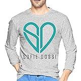 Sofie Spg Dossi - Camiseta de manga larga para hombre, estilo casual, 100% algodón, cuello redondo, camiseta de manga larga, gris, S