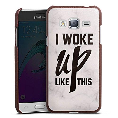 DeinDesign Cover kompatibel mit Samsung Galaxy J3 Duos 2016 Lederhülle braun Leder Hülle Leder Handyhülle Flawless Beyonce I Woke Up Like This
