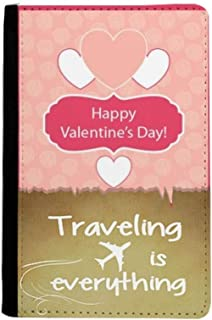 Pink and White Valentine's Day Traveling quato Passport Holder Travel Wallet Cover Case Card Purse